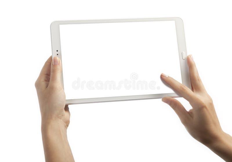 Mãos com tabuleta foto de stock royalty free