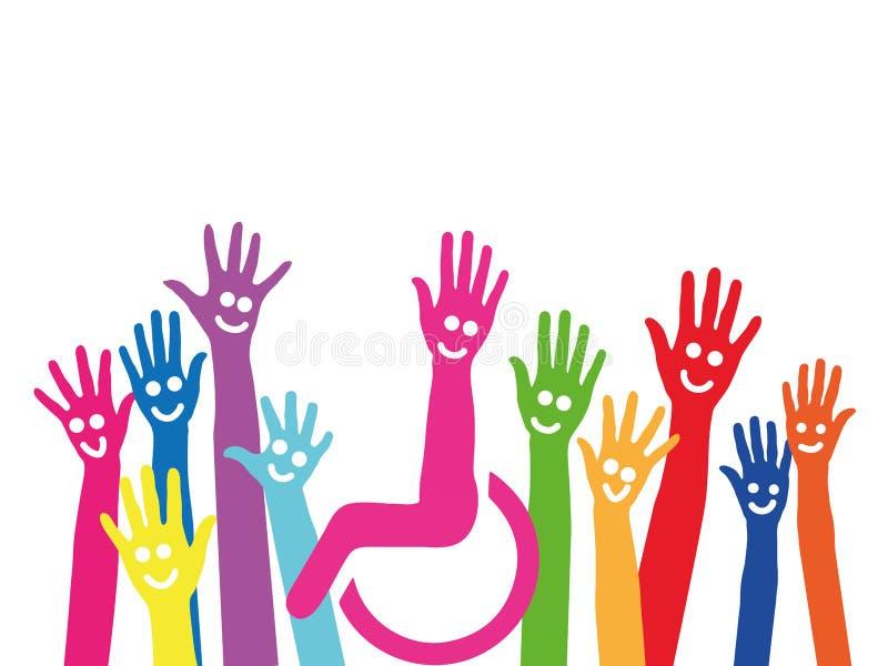 Mãos como um símbolo da inclusão e da integração ilustração stock