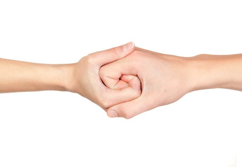 Mãos conectadas foto de stock