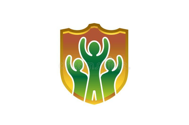 Mãos criativas das crianças do planeta que guardam Logo Design ilustração royalty free