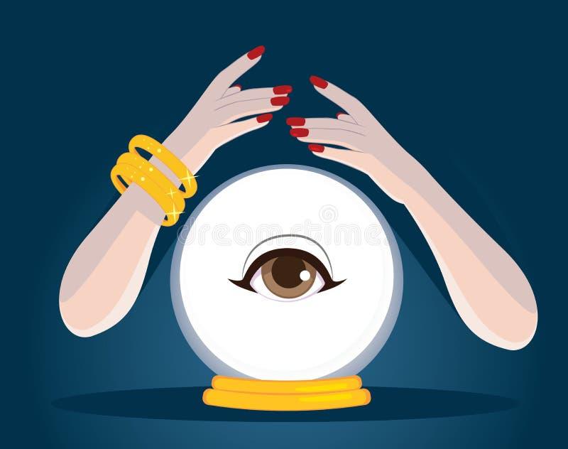 Mãos Crystal Ball do caixa de fortuna ilustração stock