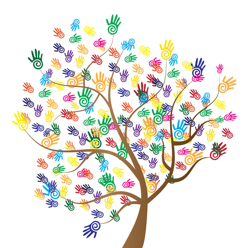 Mãos da árvore da diversidade ilustração stock