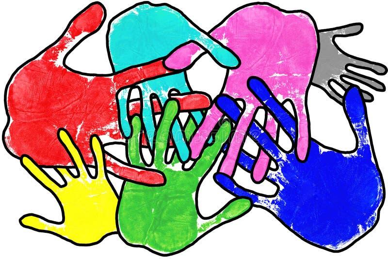 Mãos da arte de PNF no branco ilustração do vetor