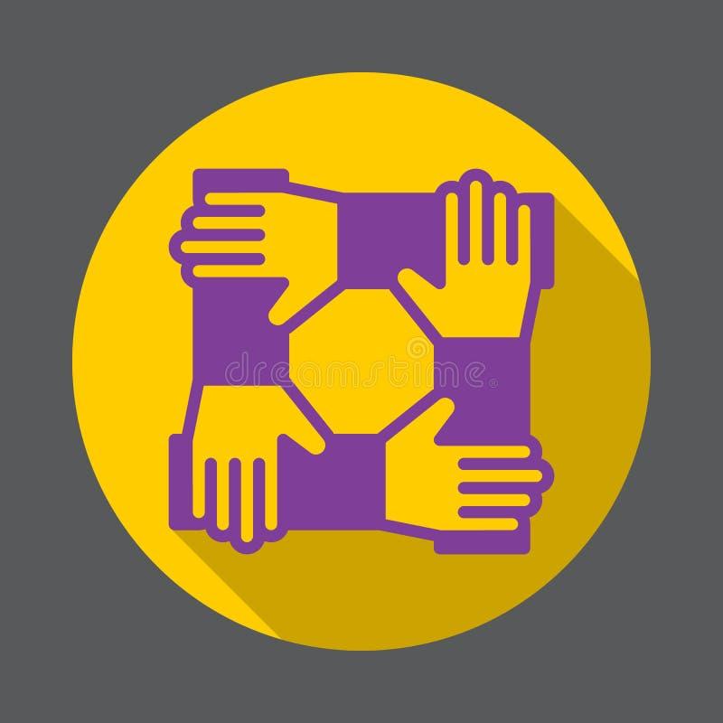 Mãos da cooperação, ícone liso dos trabalhos de equipa Botão colorido redondo, sinal circular do vetor com efeito de sombra longo ilustração royalty free