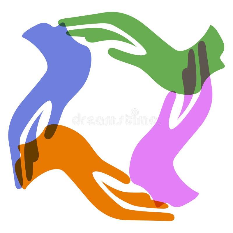 Mãos da cor ao redor ilustração royalty free