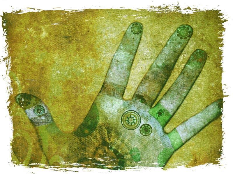 Mãos da energia do chakra - verde ilustração royalty free