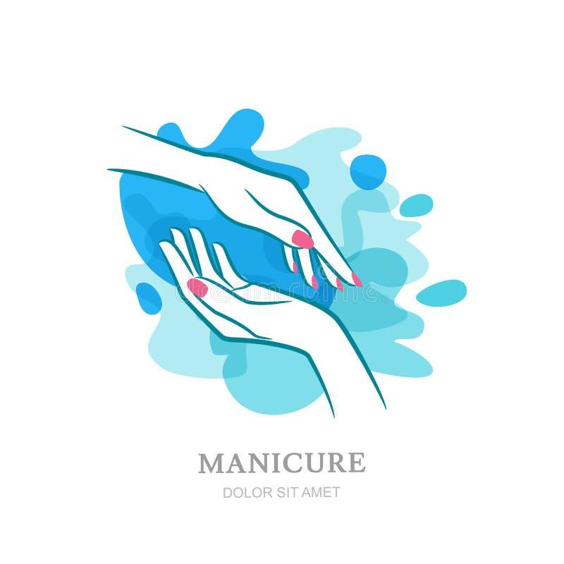 Mãos da fêmea dois no respingo da agua potável Logotipo do vetor, etiqueta, embl ilustração do vetor