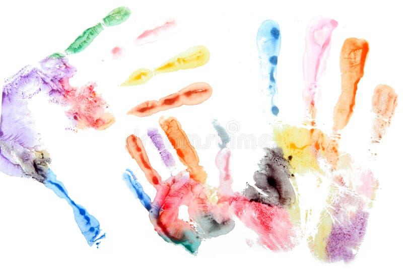 Mãos da família da aguarela fotos de stock royalty free