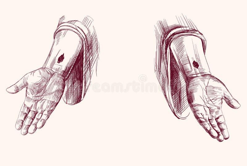 Mãos da mão de Jesus Christ tiradas ilustração do vetor