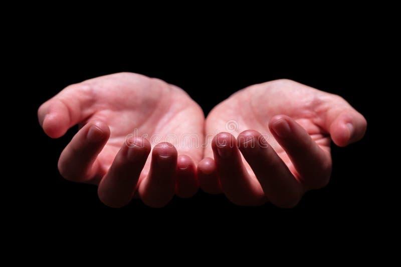 Mãos da mulher colocadas em uma terra arrendada, implorando, oferecendo, dando, recebendo, gesto de proteção imagens de stock