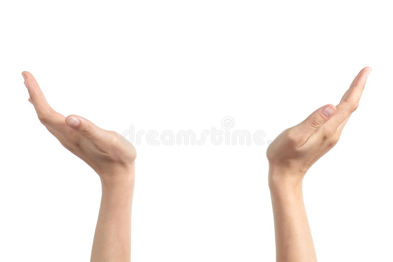 Mãos da mulher com as palmas que mantêm algo foto de stock royalty free