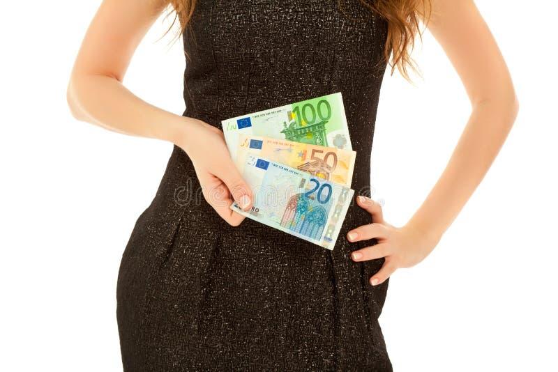 Mãos da mulher com notas de banco imagem de stock