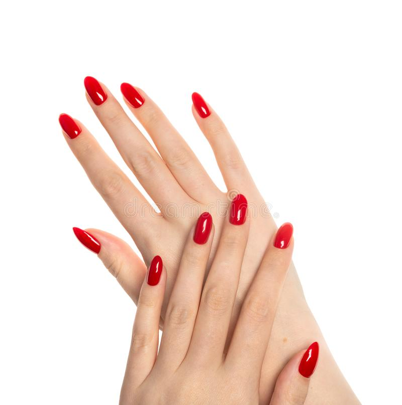 Mãos da mulher com os pregos vermelhos manicured fotografia de stock