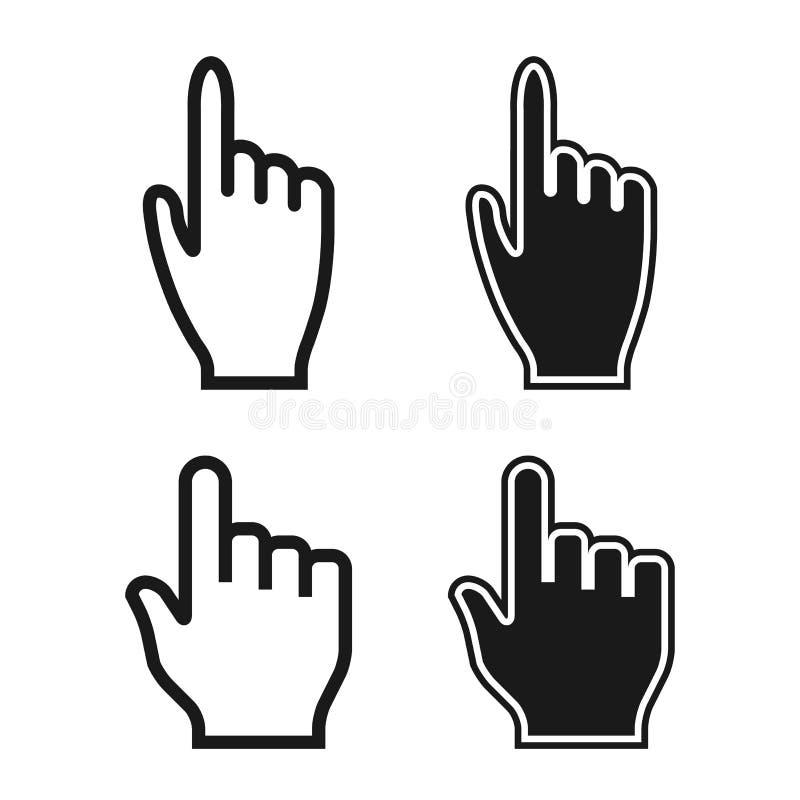 Mãos da mulher e do homem. Ícones do cursor. Grupo do ponteiro de rato. Vetor ilustração royalty free