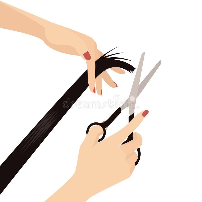 Mãos da mulher elegante que cortam o cabelo, a mão que guardam tesouras e a mão que guarda o cabelo, salão de beleza, cabeleireir ilustração stock