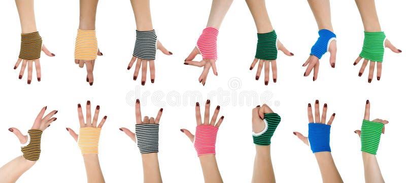 Mãos da mulher nas luvas imagens de stock royalty free