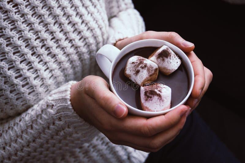 Mãos da mulher que guardam um copo do chocolate quente fotografia de stock royalty free