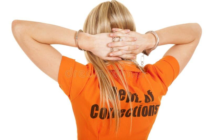 Mãos da parte traseira da laranja do prisioneiro atrás da cabeça imagens de stock royalty free