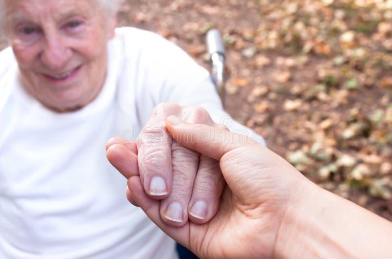 Mãos da terra arrendada da mulher sênior e nova fotografia de stock