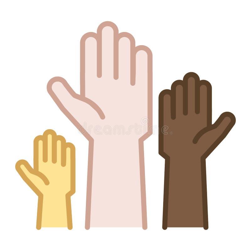 Mãos das cores da pele diferentes levantadas acima Linha fina ilustração do vetor do ícone Oferecimento, caridade ilustração stock