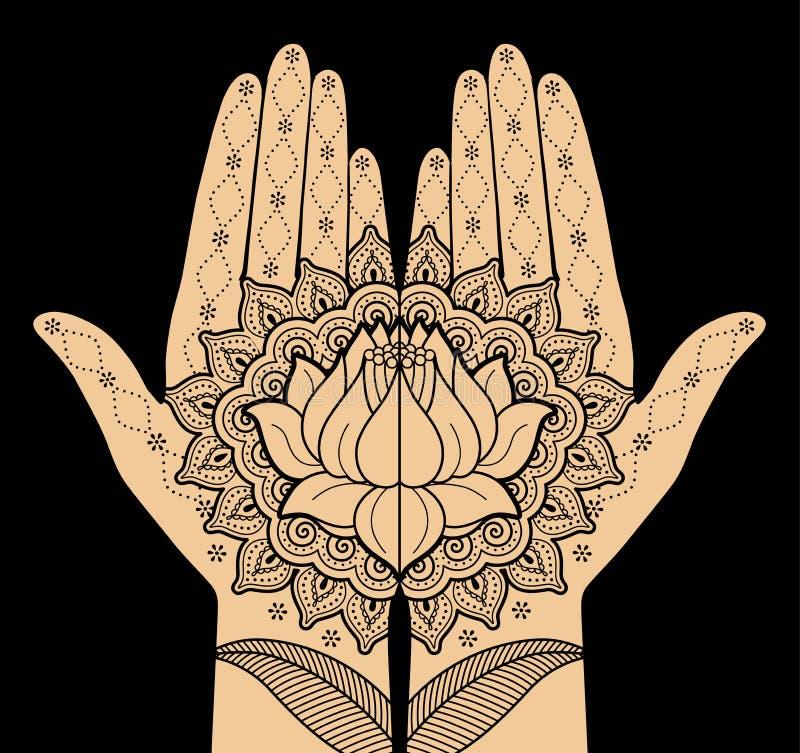 Mãos das mulheres com ornamento decorativo ilustração stock