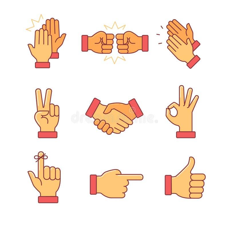 Mãos de aplauso e outros gestos ilustração do vetor