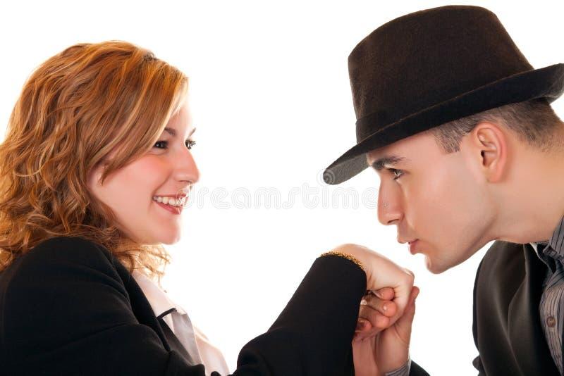 Mãos de beijo do Close-up fotografia de stock royalty free