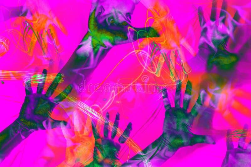 Mãos de cópias coloridas em um fundo retro brilhante do estilo do vaporwave Colagem da arte contemporânea ilustração do vetor