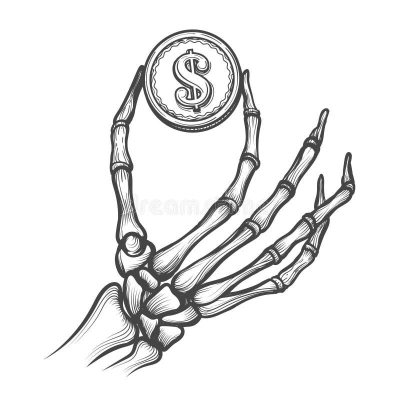 Mãos de esqueleto com moeda do dólar ilustração royalty free