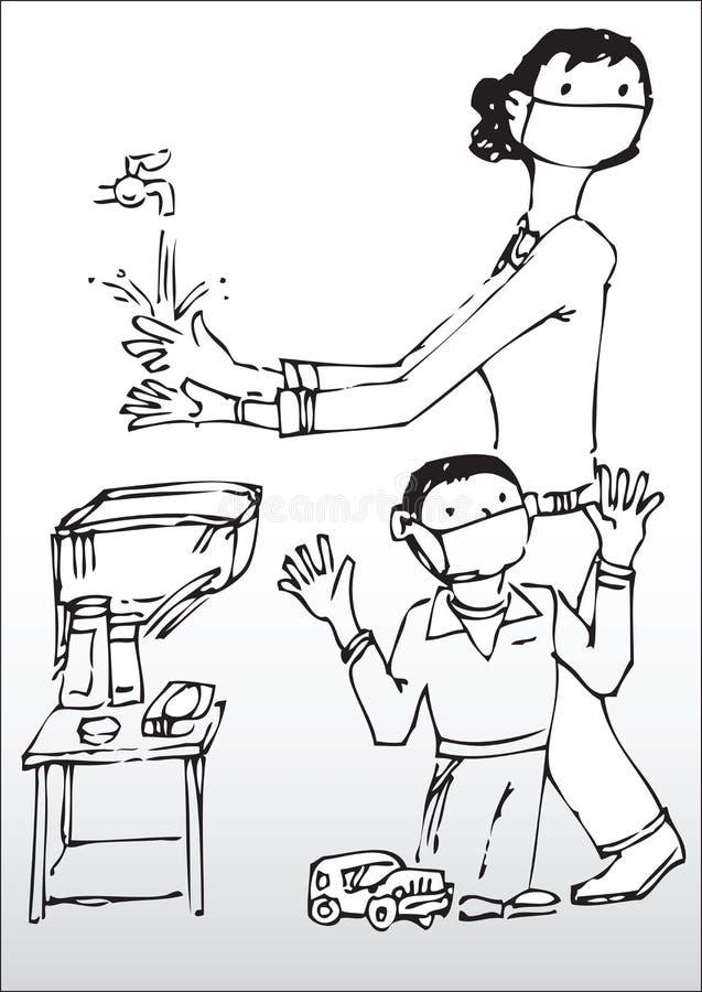 Mãos De Lavagem Da Matriz E Do Filho Fotos de Stock