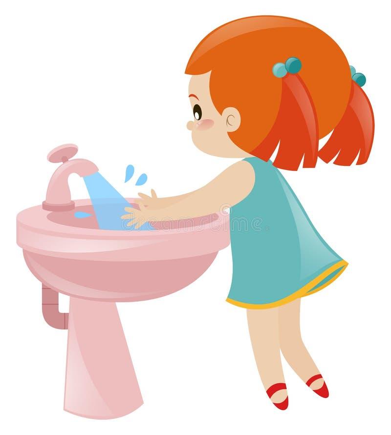 Mãos de lavagem da menina no dissipador ilustração do vetor