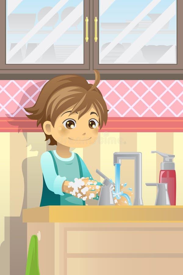 Mãos de lavagem do menino ilustração royalty free