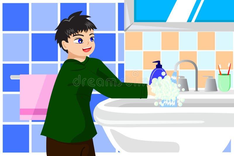 Mãos de lavagem do menino com sabão ilustração royalty free