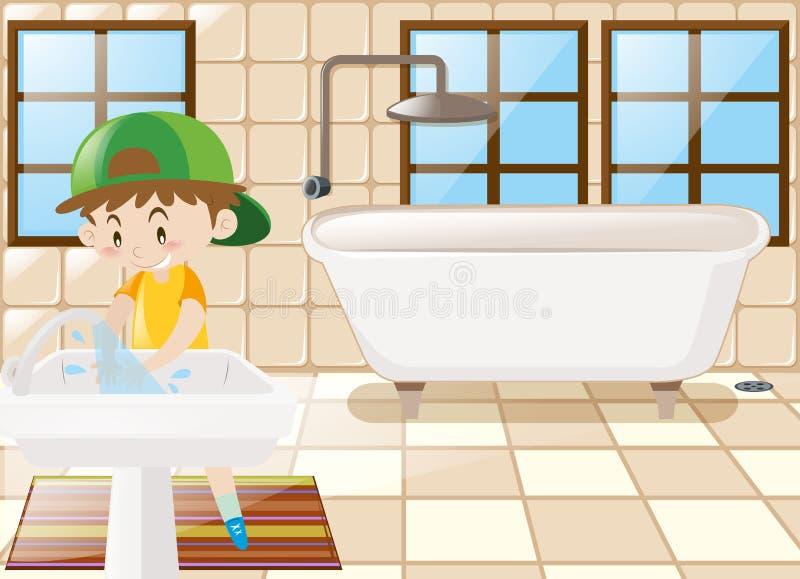 Mãos de lavagem do menino no toalete ilustração do vetor
