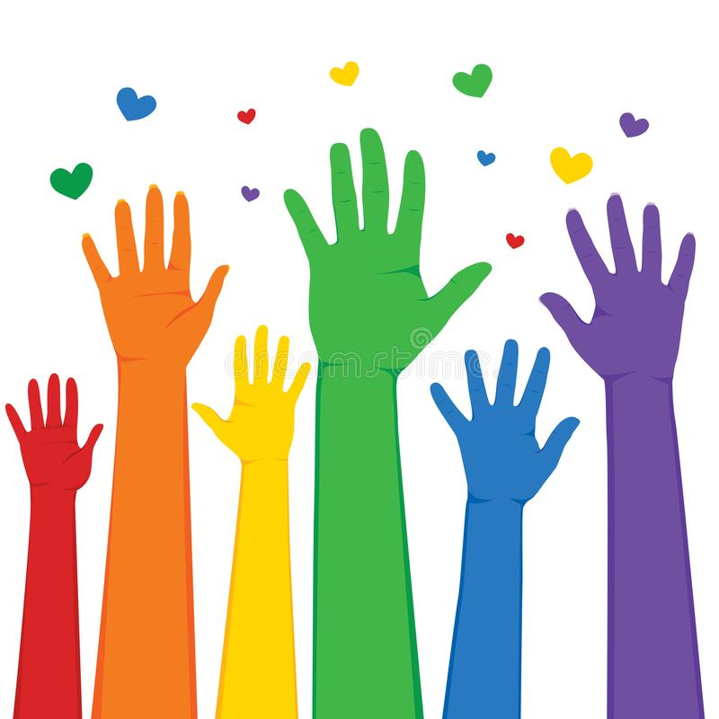 Mãos de LGBT levantadas ilustração stock