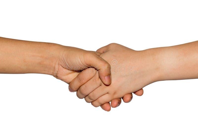Mãos de manter-se unido do homem e da mulher Agitando o conceito dos trabalhos de equipe das mãos Isolado no fundo branco Trajeto imagem de stock royalty free