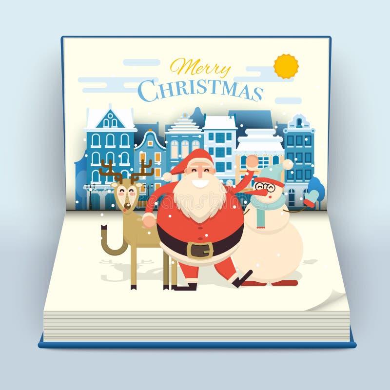 Mãos de ondulação de sorriso felizes dos desenhos animados Santa, dos cervos e do boneco de neve no cu ilustração royalty free