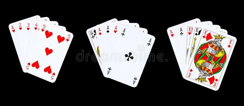 Mãos de póquer de vencimento imagem de stock