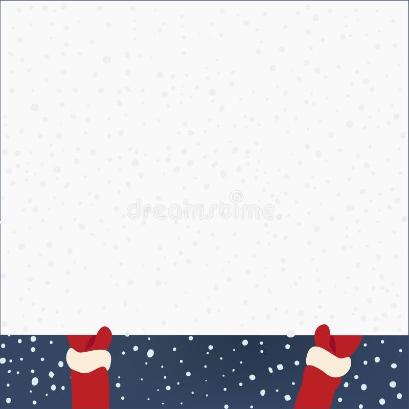 Mãos de Santa Claus que guardam a bandeira, vetor ilustração stock