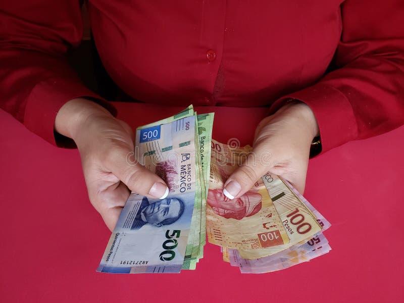 mãos de uma mulher de negócios que conta cédulas mexicanas imagens de stock royalty free