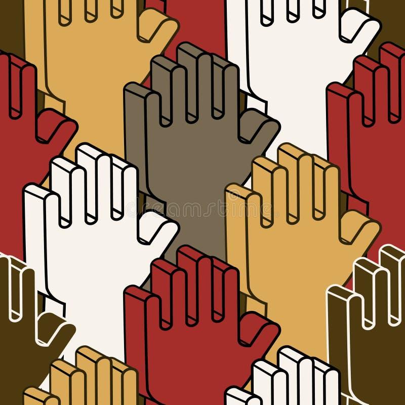 Mãos de votação - teste padrão sem emenda ilustração royalty free