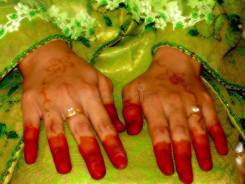 Mãos decoradas imagens de stock