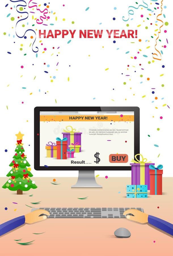 Download Mãos Decoradas Do Computador Do Local De Trabalho Usando A Decoração De Datilografia Da Venda Do Natal Do Internet Do Ano Novo Fe Ilustração do Vetor - Ilustração de santa, festive: 80100914