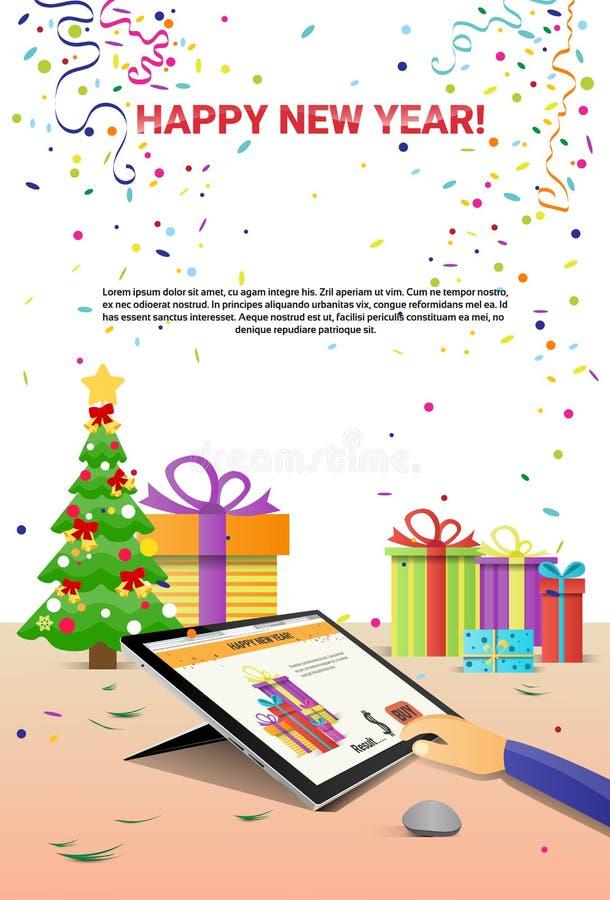 Download Mãos Decoradas Do Tablet Pc Do Local De Trabalho Usando A Decoração Da Venda Do Natal Do Internet Do Ano Novo Feliz Ilustração do Vetor - Ilustração de venda, tela: 80101189