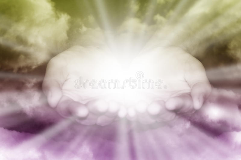 Mãos divinas fotografia de stock