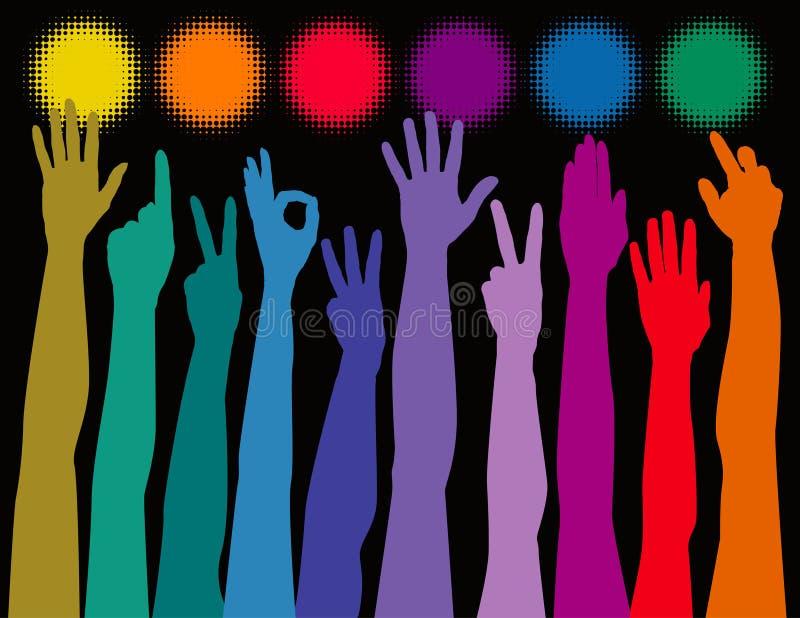 Mãos do arco-íris ilustração stock