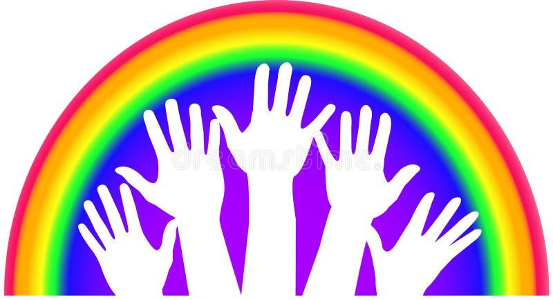 Mãos do arco-íris ilustração royalty free