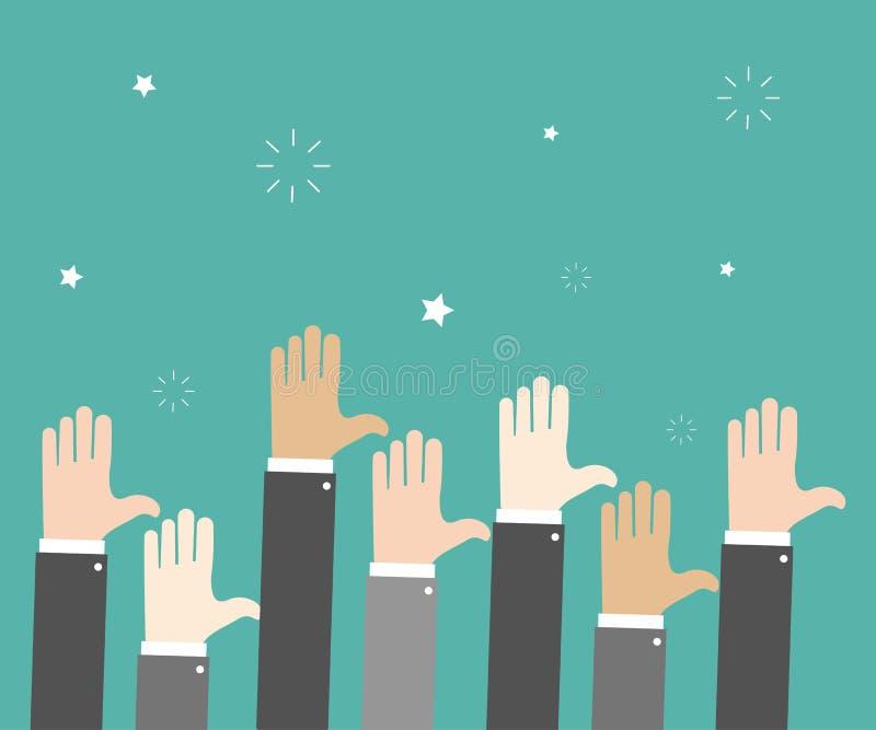 Mãos do aumento Gesticular da mão votar Fundo verde Ilustração do vetor ilustração do vetor