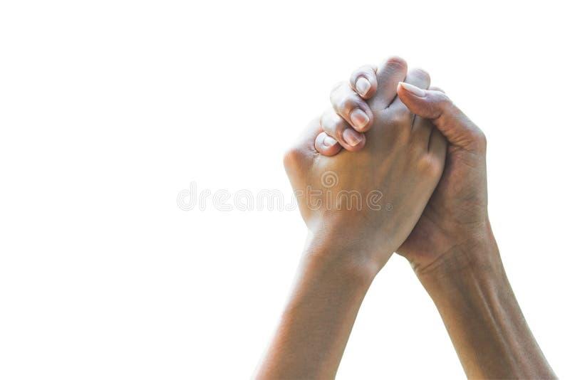 Mãos do close up dos povos que agitam acima sobre o vencedor no fundo branco fotos de stock royalty free