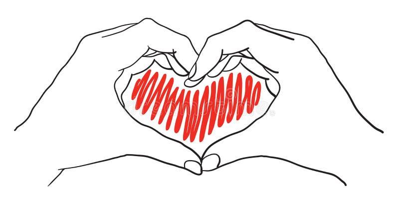 Mãos do coração ilustração do vetor